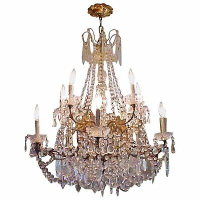 Lustrous 10 Light Large French Multi Crystal Chandelier 19th century