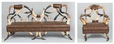 American Steer Horn Couch & Matching Chair Lot 487