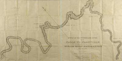 Survey of the Cumberland River, 1834 Steamboat Map Lot 533