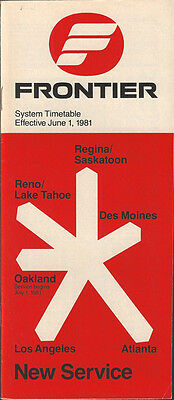 Frontier Airlines system timetable 6/1/81 (Buy 2 get 1 free)