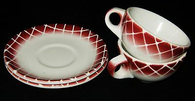 2 Sets Mid Cent CARIBE CHINA Puerto Rico Restaurant Ware Cup Saucer Plates Red