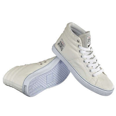 Vision Street Wear Mens Orbsta Off White Faux Leather Hi Mi Shoes Skate Trainers
