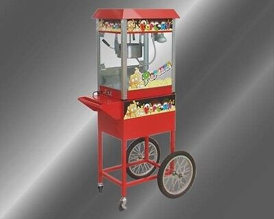 Brand New Commercial Electric 8oz Popcorn Maker Machine / Display Cabinet & Cart