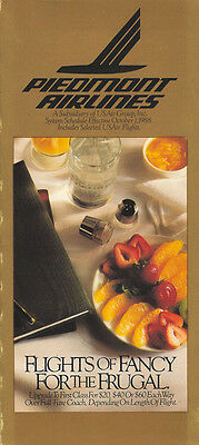 Piedmont Airlines system timetable 10/1/88 (Buy 2 get 1 free)