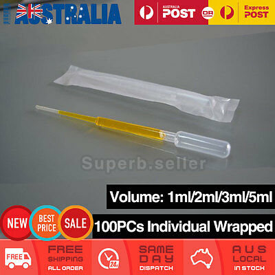 100pcs 1ML/2ML/3ML/5ML Disposable Plastic Eye Dropper Clear Graduated Pipettes