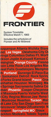 Frontier Airlines system timetable 3/1/83 (Buy 2 get 1 free)
