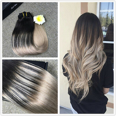 Ombre Balayage Remy Hair Ash Blonde Clip In Human Hair