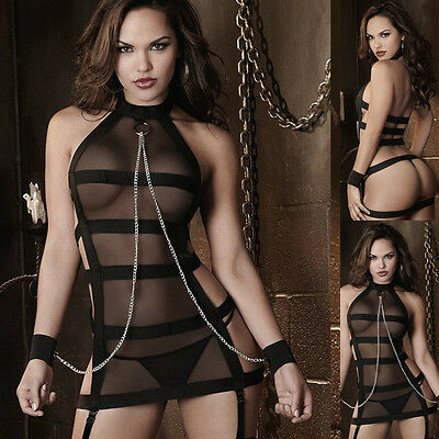 Women Black Mesh Sexy Lingerie Halter Striped Role Play Costume See Through New