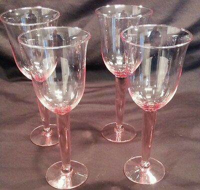 """Lot of 4 Pink Rose Wine Glasses or Water Goblet 9""""x4"""""""