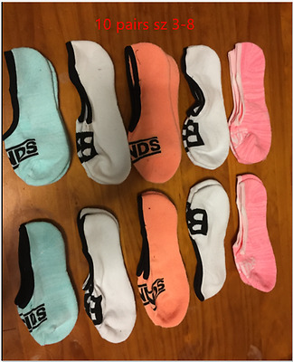10Pairs Womens BONDS Sneaker Sock Cushioned Sole No Show Cotton Invisible sz 3-8