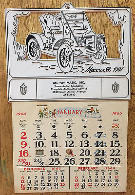 Vintage 1966 All-A-Matic Plastic Silouette Advertising Calendar - Complete / Car