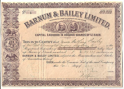 SERIAL #1 BARNUM BAILEY STOCK ISS 2 JAMES BAILEY for HIS SHARE of CO at FOUNDING