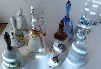 Vtg Retro Mixed Lot Ceramic Glass Hand Table Bells