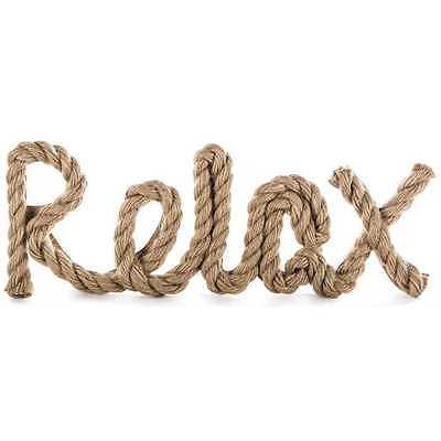 RELAX Nautical Rope Word Wall Art Home Decor Plaque Beach House