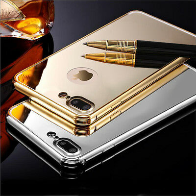 Luxury Aluminum Ultra-thin Metal Bumper Mirror Back Case Cover for iPhone 5 6 7
