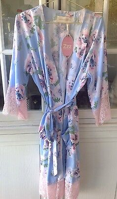 New Peter Alexander Floral & Lace Summer Kimono Gown Size Small RRP$109