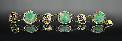 Qing Dynasty Chinese Fine Silver Jade Crane Medallion Bracelet