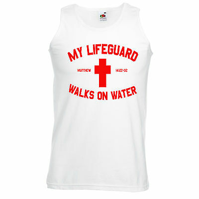 NEW! MY LIFEGUARD WALKS ON WATER Jesus Christ Christian Psalms Tank Tops