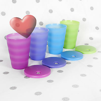 NEW Tupperware Expressions Tumbler 500ml set of 4 Tumblers Dripless Straw Seals