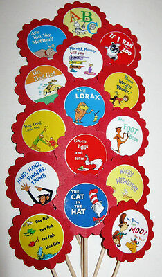 Dr Seuss Books Cupcake Toppers/Party Picks  (15pc Set)  Item #332