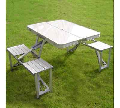 Outdoor Camping Set Table & 4 Chairs BBQ Party Aluminium Folding Portable Picnic