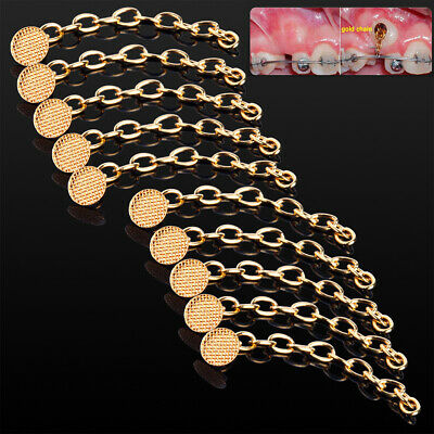 10pcs/bag Dental Orthodontic Traction Chain Gold Round Mesh Base Lingual Buttons