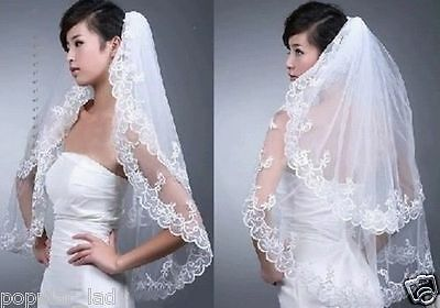 New White 2 Layers Lace Bridal Wedding Veils with Comb