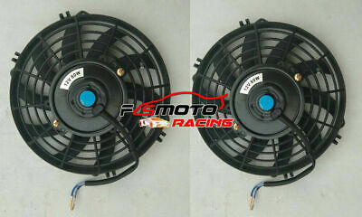 """2 x 10"""" 10 inch 12V Slim Electirc Radiator Cooling Thermo Fan & Mounting kit NEW"""