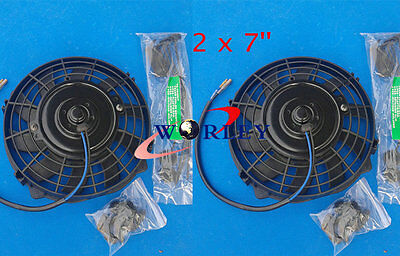 """TWO  7"""" 12V Reversible ELECTRIC Thermo COOLING FAN + MOUNTING KITS 7 Inch 2 PCS"""