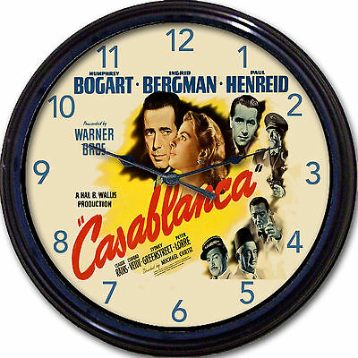 Casablanca Bogart Bergman Movie Poster Wall Clock Lorre Hollywood Warner New 10""