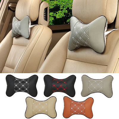 Travel Voiture Seat Tête Cou le repos Leather Coussin Tampon HeadRest Oreiller