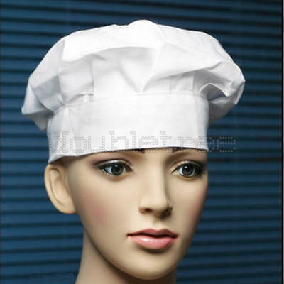 Chef Hat One Size Fit All Elastic Baker BBQ Cafe Cook Kitchen Cap Uniform White