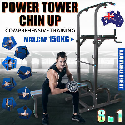 8 in 1 Power Tower Station Weight Bench Chin Up Pull Dip Knee Raise Exercise Gym