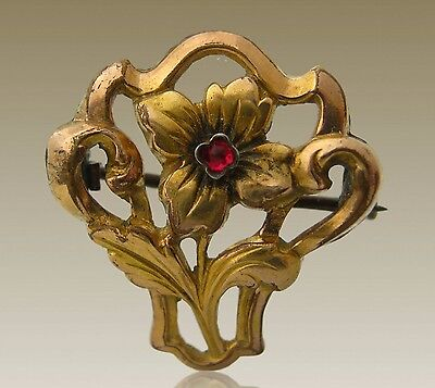 Jolie Antique Victorian floreal Brooch Gold plated and garnet - Brooch pin