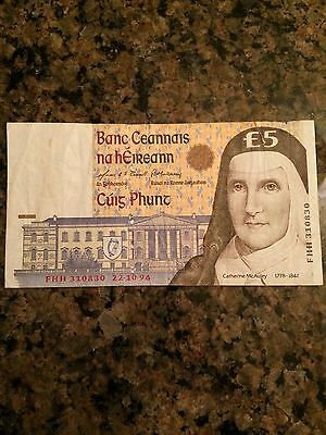 1996 Central Bank of Ireland 5 Pounds