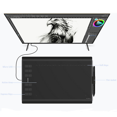 """Huion New 1060Plus Graphic Drawing Tablet 10"""" x 6.25"""" Upgrade 12 HotKey AU Ship"""