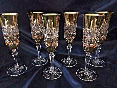 LUXURY HIGH-CLASS BOHEMIA GOLD 24% LEAD CRYSTAL CHAMPAGNE GLASSES 150ml 6PC