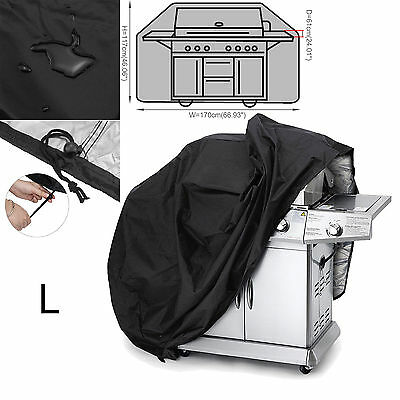 170 x 61 x 117cm Large Size 4 5 6 Burner Hooded BBQ Barbecue UV Protector Cover