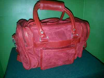 Red Suede multisection patchwork Purse DualZipper TopFlap/side pockets $25.95
