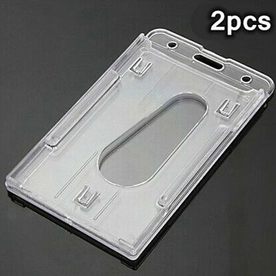 2PCS Clear Hard Plastic Vertical Name Tag ID Double Business Card Badge Holder