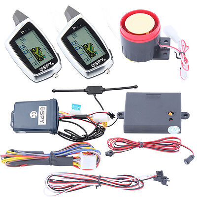 SPY 2 way motorcycle alarm LCD display remote engine start W rechargeable remote