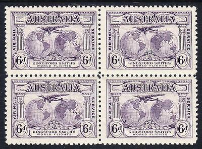 1931 6d PURPLE KINGSFORD SMITH block four  fine mint never hinged.