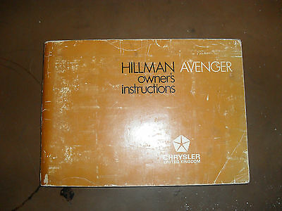 Hillman Avenger owners instructions