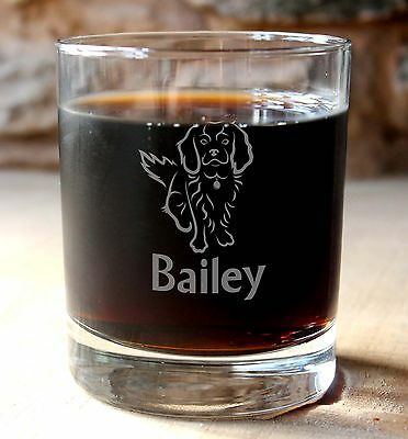Personalised King Charles Spaniel dog Glass Tumbler with optional gift box
