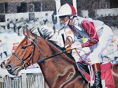 Large Original Drawing of the Racehorse, In The Groove.