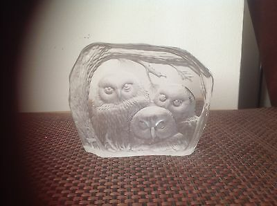 Darlington Crystal 3 Owl Glass Paperweight Signed 'Capredoni '