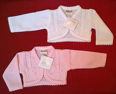 beautiful baby bolero shrug cardigan pink or white cable and bow pattern new