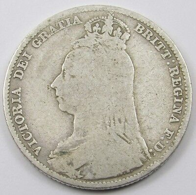 QUEEN VICTORIA JUBILEE HEAD SILVER ONE SHILLING COIN dated 1892