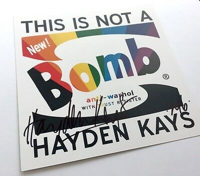 Hayden Kays signed + illustrated This Is Not A Bomb Exhibition Card Invite Rare