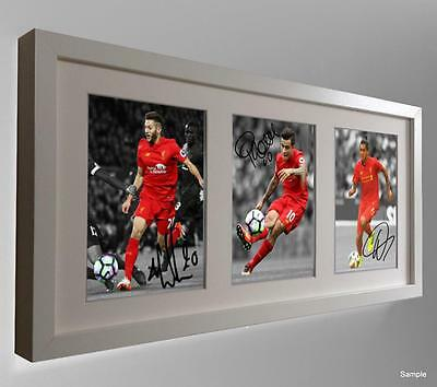 2016/7 Signed Lallana Coutinho Firmino Autographed Liverpool Photo Picture Frame